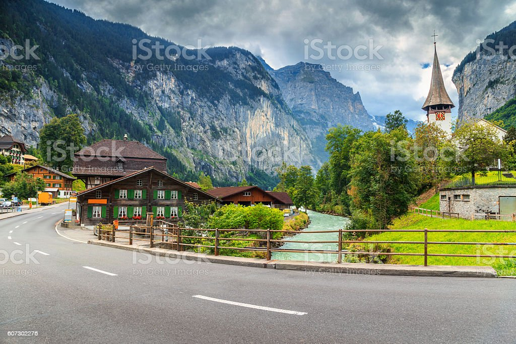 Amazing Lauterbrunnen town with high cliffs,Bernese Oberland,Switzerland,Europe stock photo