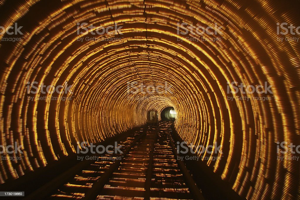 Abstract light patterns in tunnel.See also: