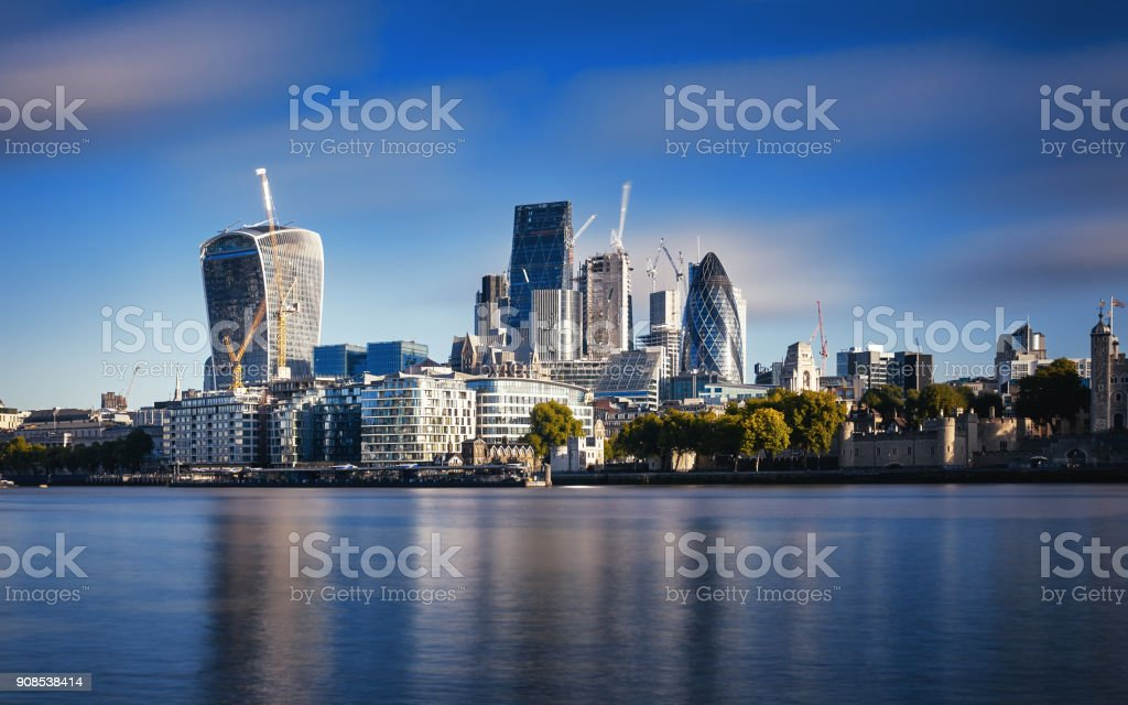 Amazing London skyline with Tower Bridge during sunrise stock photo