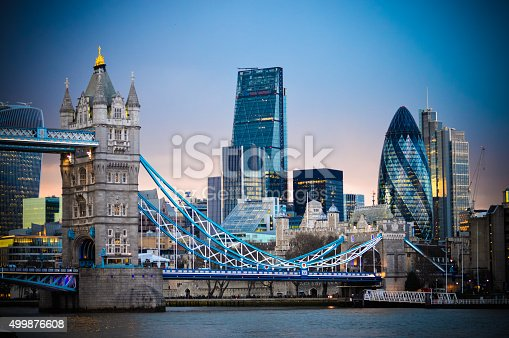 istock Amazing London skyline with Tower Bridge during sunset 499876608