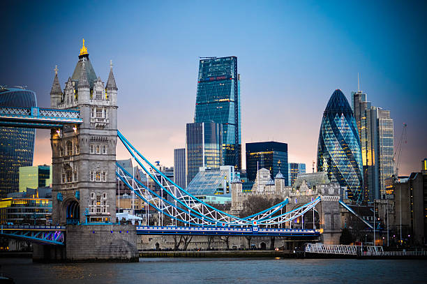 amazing london skyline with tower bridge during sunset - financial district stock pictures, royalty-free photos & images