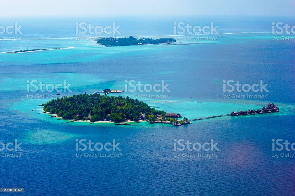 Amazing Maldives - Areal view over North Ari Atolls stock photo