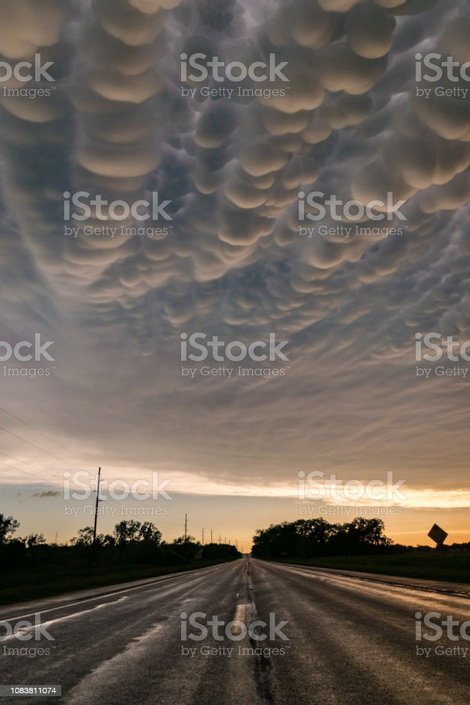 Mammatus is a cellular pattern of pouches hanging underneath the base...