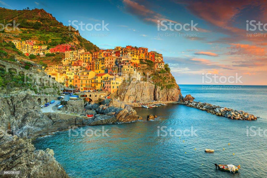 Amazing Manarola village, Cinque Terre, Liguria, Italy, Europe stock photo