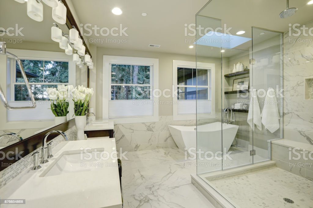 amazing bathroom polaroids | Amazing Master Bathroom With Large Glass Walkin Shower ...