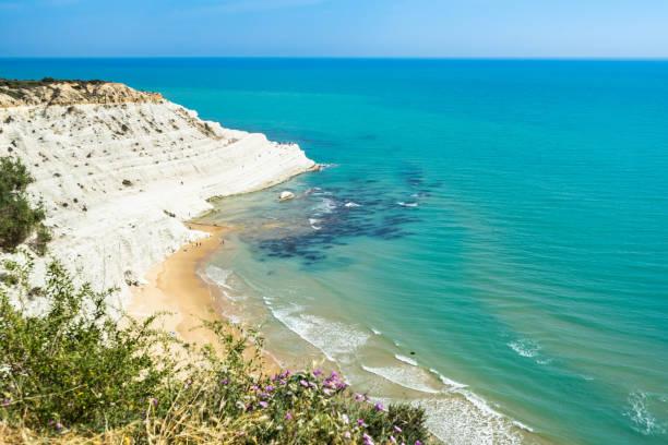 Amazing Mediterranean seascape near Scala dei Turchi white cliff, Realmonte, Agrigento province, Sicily, Italy stock photo