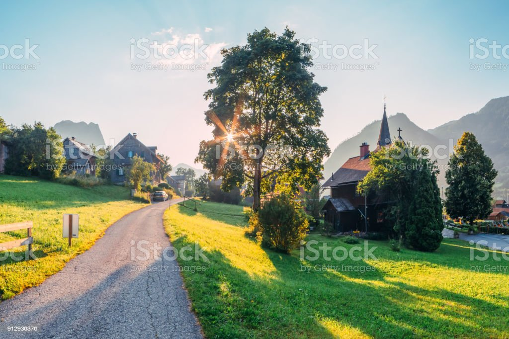 Amazing morning in the Resslern village stock photo