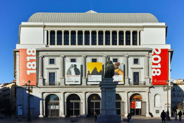 Şaşırtıcı sabah görünümü, bina, Teatro Real Madrid, İspanya stok fotoğrafı