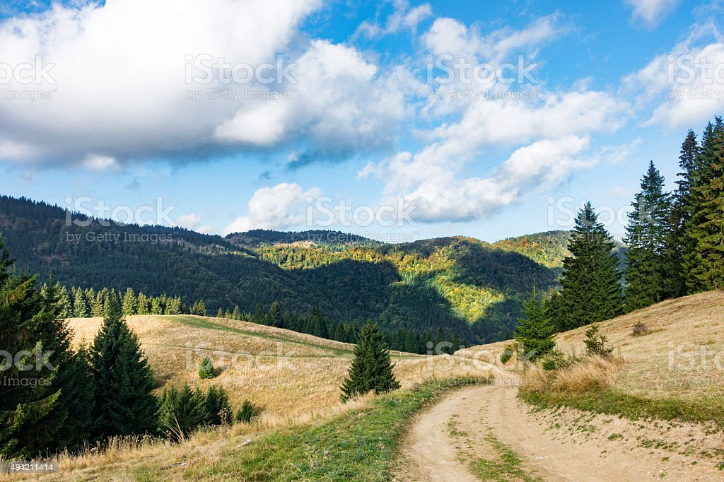 Amazing mountain landscape in early autumn stock photo