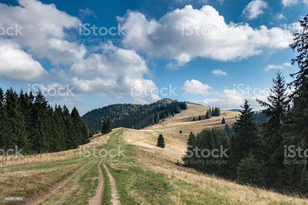Amazing mountain landscape with sky and clouds stock photo