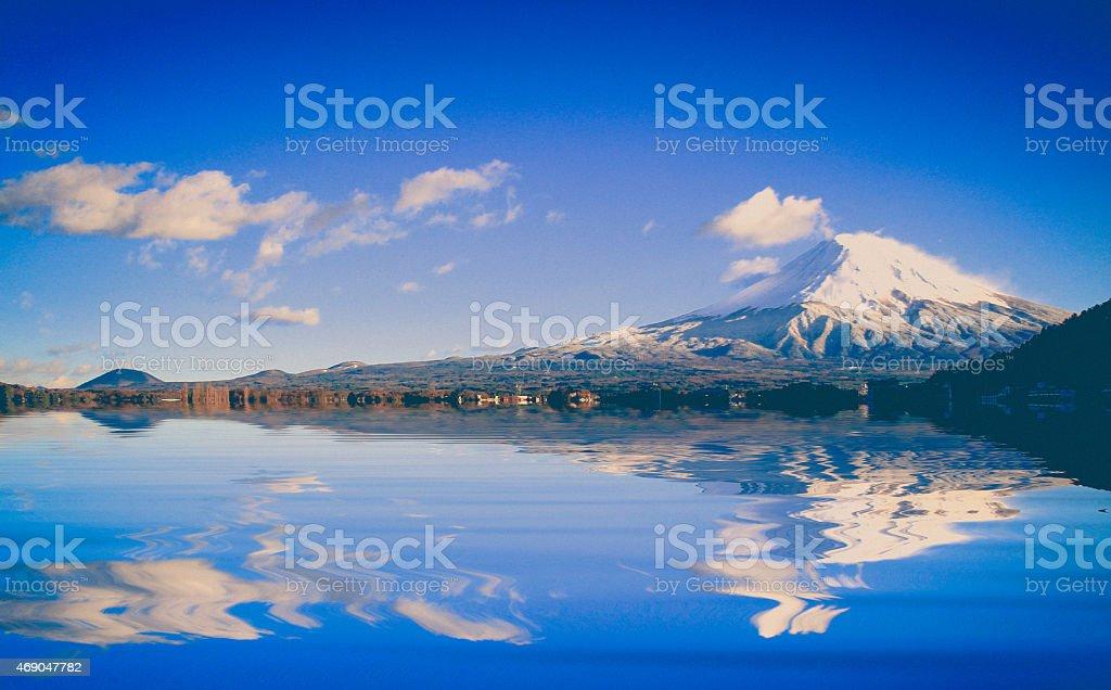 amazing Mt. Fuji, Japan with the reflection stock photo