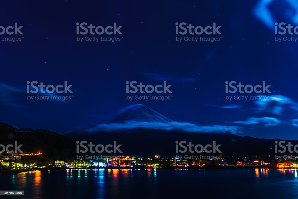 Amazing Mt. Fuji, Japan with the star on the sky stock photo
