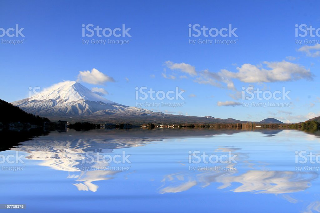 amazing Mt. Fuji,  with the reflection on the on water stock photo