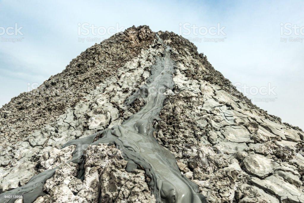 Amazing mud volcano stock photo