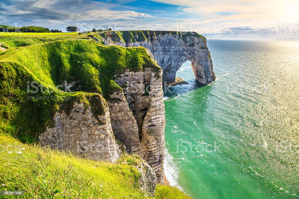 Amazing natural rock arch wonder, Etretat, Normandy, France stock photo
