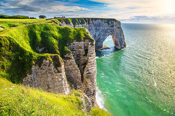 Amazing natural rock arch wonder, Etretat, Normandy, France – Foto