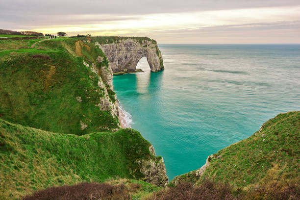 amazing nature landscape horizontal nature landscape in Etretat with Atlantic Ocean and cliffs. normandy stock pictures, royalty-free photos & images