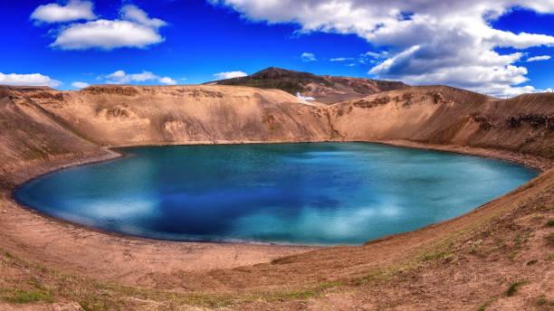 Erstaunliche Naturlandschaft, Viti Krater Smaragdsee in Krafla Caldera, geothermisches Vulkangebiet, Island – Foto