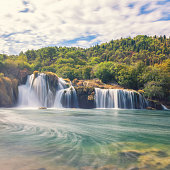 Amazing nature landscape, beautiful waterfall, famous Skradinski buk, one of the most beautiful waterfalls in Europe and the biggest in Croatia, outdoor travel background