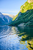 Norwegian landscape with Nordfjord fjord, mountains,