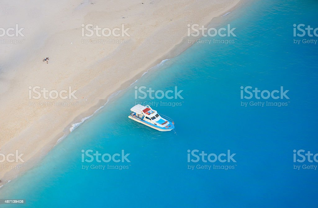Amazing Navagio Beach in Zakynthos Island, Greece stock photo