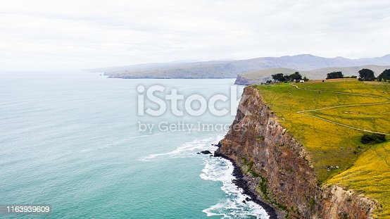 amazing New Zealand coastline with great blue ocean and green fields on a cliff, nice coast at Taylors mistake walkway