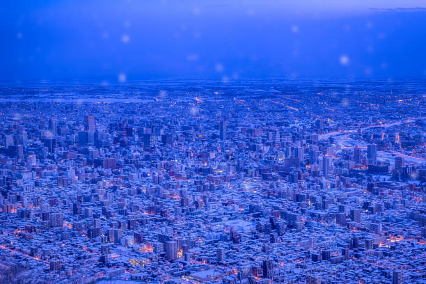 amazing night scenery in sapporo. - sapporo stock photos and pictures
