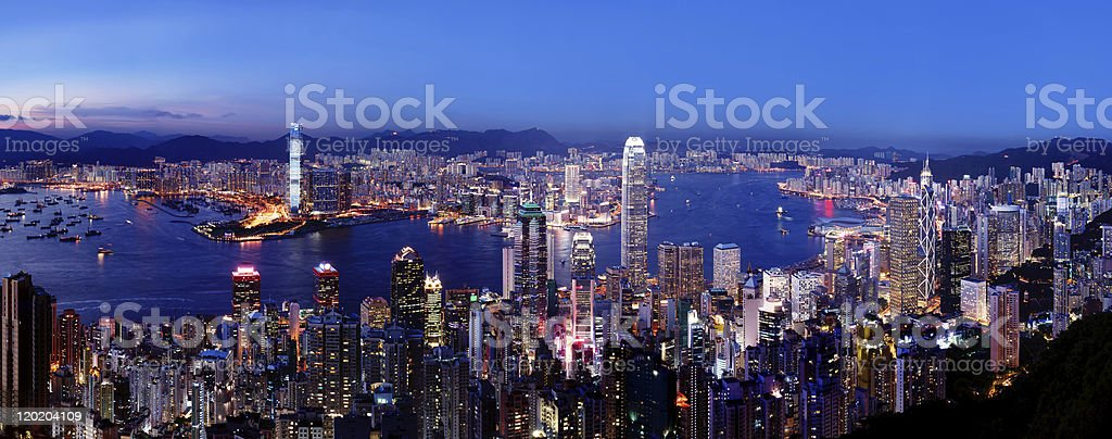 Amazing night view of Hong Kong bay in 2010 royalty-free stock photo