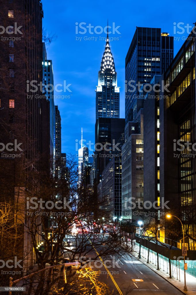 Amazing night view of New York City midtown district stock photo