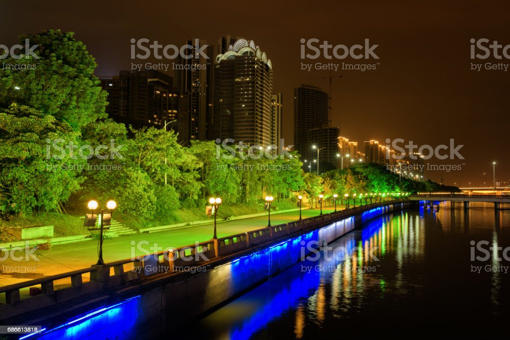 Amazing night view of the Pearl River waterfront in Guangzhou royalty-free stock photo