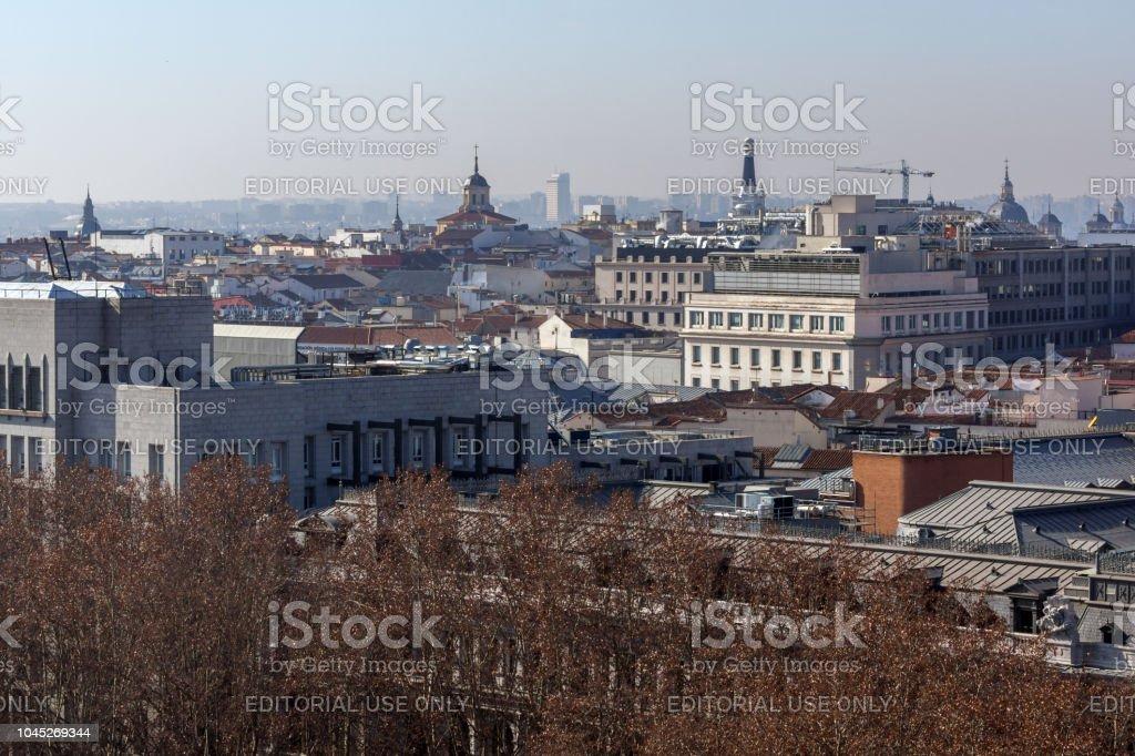 Panorama Increíble De La Ciudad De Madrid Del Palacio De Cibeles España Foto De Stock Y Más Banco De Imágenes De Aire Libre