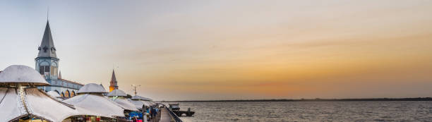 Amazing panorama of famous Ver o Peso Market at sunset stock photo