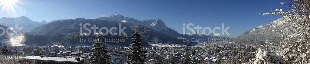 Amazing Panorama of Garmisch-Partenkirchen stock photo