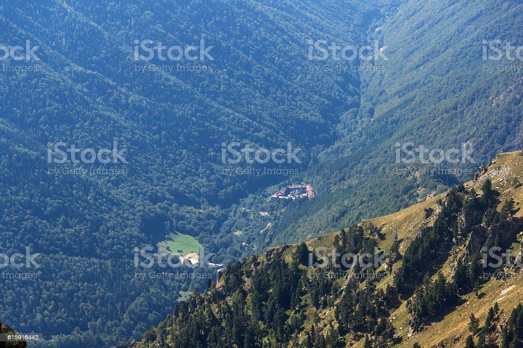 Amazing Panorama of Green hills and Rila monastery stock photo