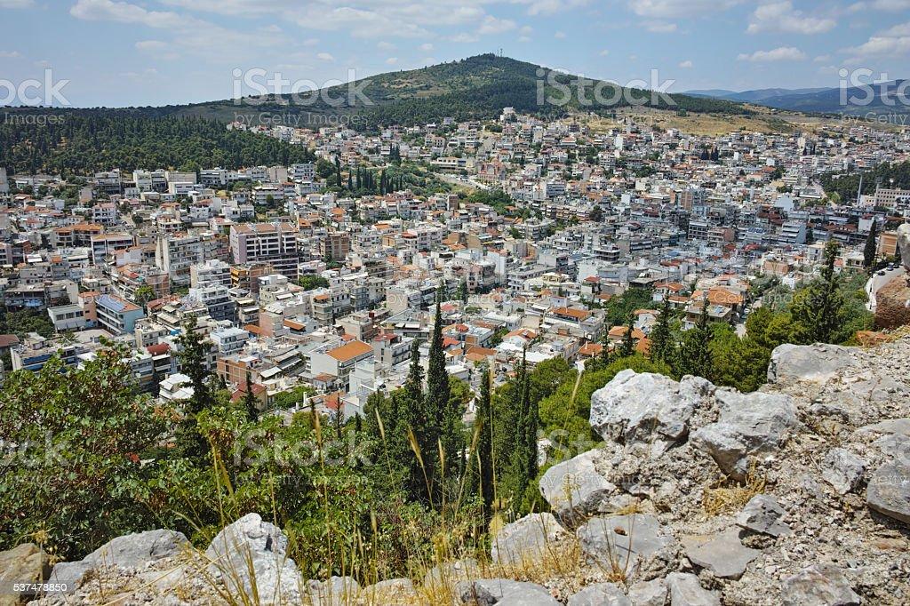 Amazing panorama of Lamia City, Greece stock photo