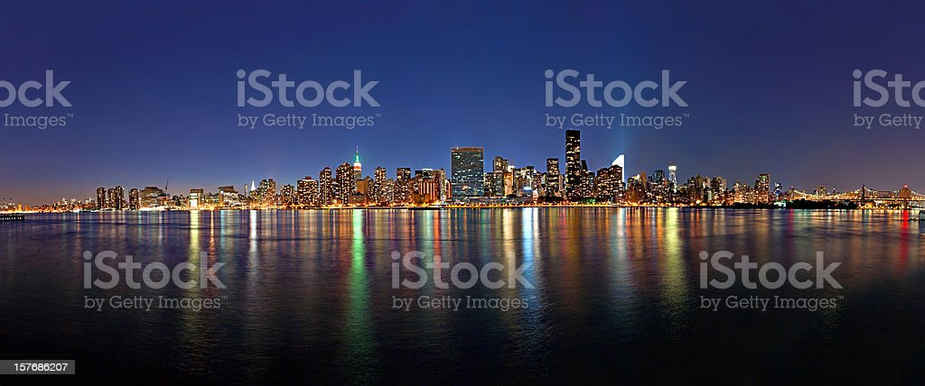 amazing panorama of manhattan in twilight stock photo