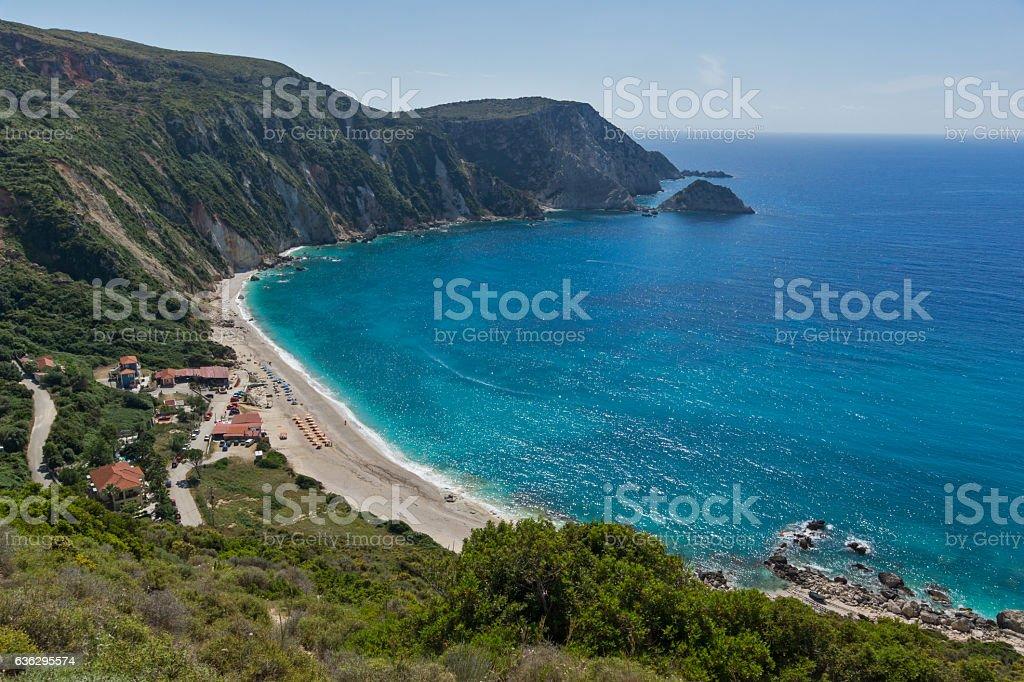 Amazing Panorama of Petani Beach, Kefalonia, Greece stock photo