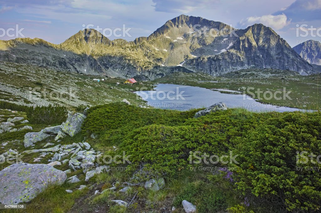 Amazing panorama of Tevno Lake and Yalovarnika peak from Valyavishki chukar, Pirin mountain stock photo
