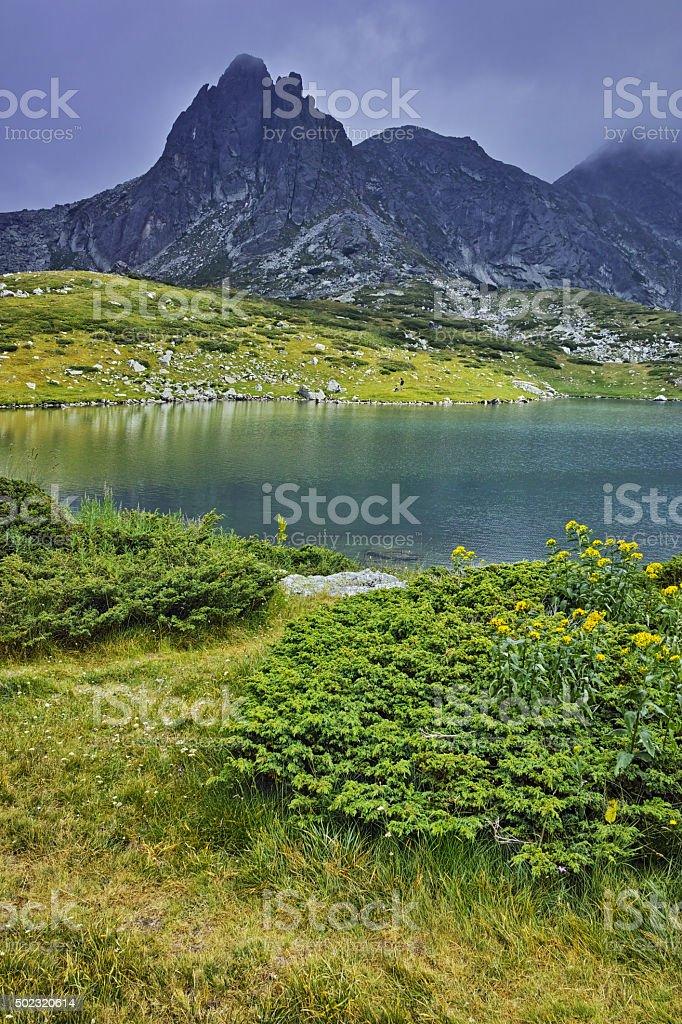 Amazing panorama of The Twin lake stock photo