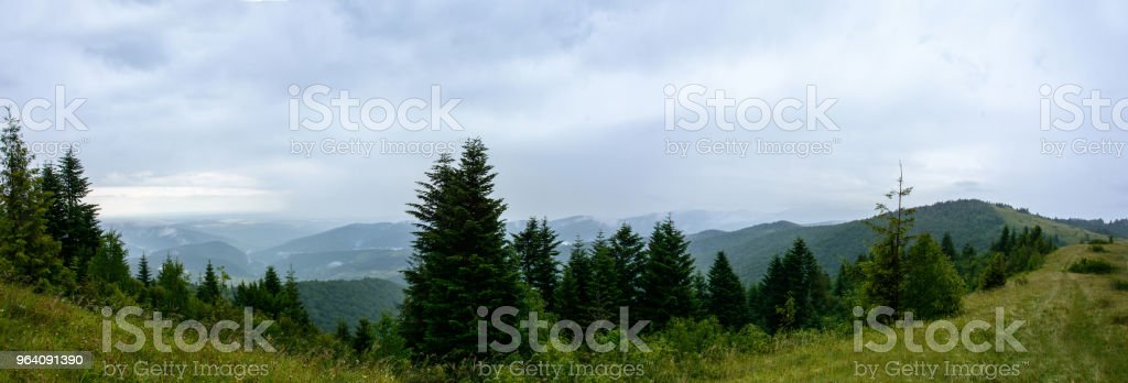 Amazing panorama on the mountain Yavorinka in the Carpathians during the rain - Royalty-free Adventure Stock Photo