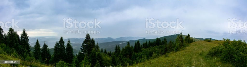 Amazing panorama on the mountain Yavorinka in the Carpathians during the rain - Royalty-free Adventure Stock Photo