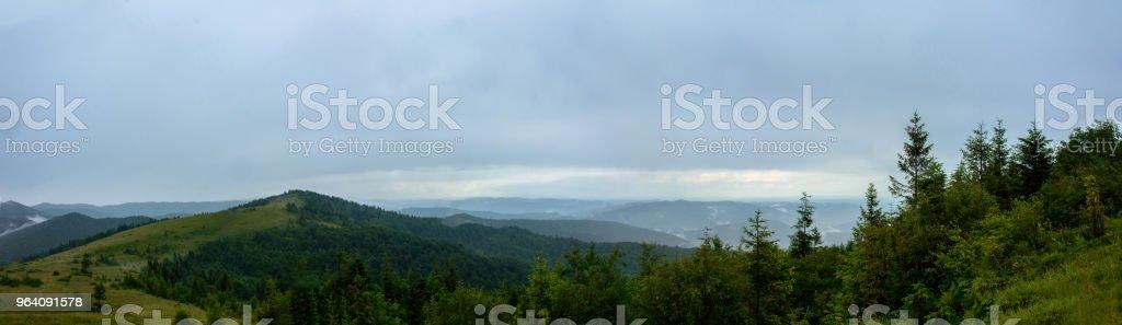 小雨の中のカルパティア山脈の Yavorinka 山の素晴らしいパノラマ - かすみのロイヤリティフリーストックフォト