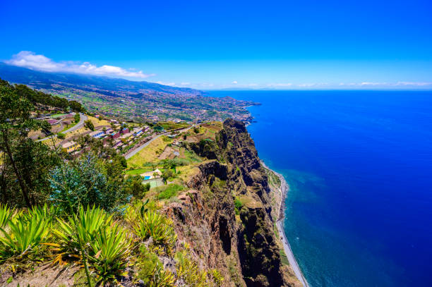 Amazing panorama view from Cabo Girao cliff close to Camara de Lobos on Madeira island, Portugal