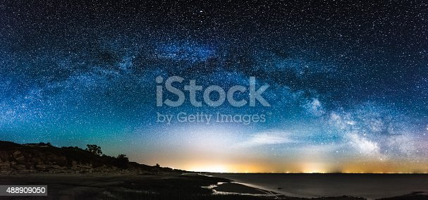 istock Amazing Panoramic Landscape view of a Milky Way 488909050