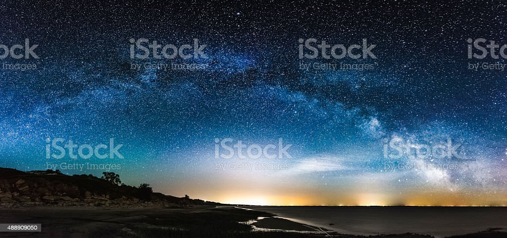 Amazing Panoramic Landscape view of a Milky Way stock photo