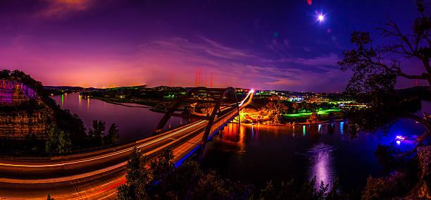 Amazing Panoramic Night Capture of 360 Bridge Austin , Texas stock photo