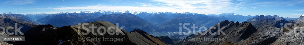 Amazing, panoramic shot from mountain 'Sex Rouge' near Anzère, Switzerland stock photo