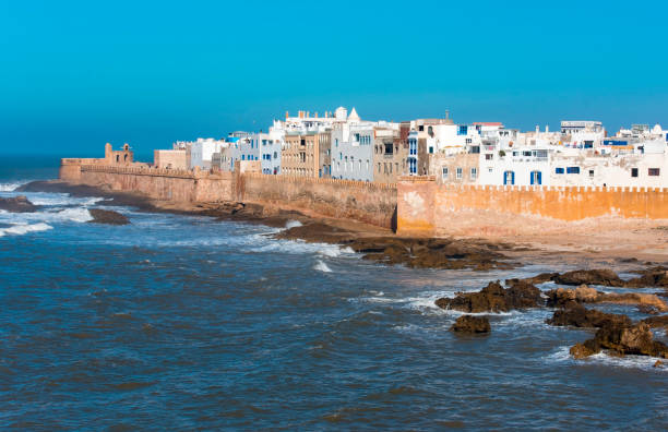 Amazing panoramic view of Essaouira Ramparts aerial in Essaouira, Morocco. stock photo
