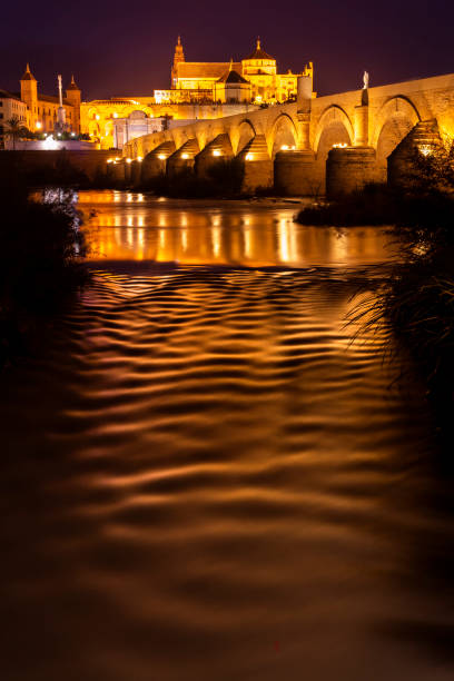 Amazing panoramic view of Roman bridge and Mezquita of Cordoba glowing in night stock photo