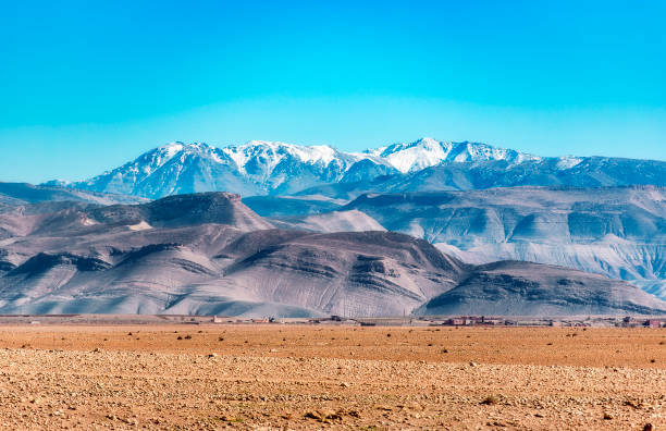 Amazing panoramic view of the Atlas Mountains in Morocco stock photo